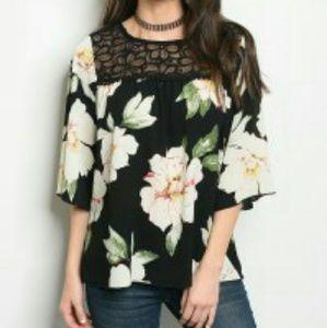 Tops - 🎆Arrived🎆!  Black Floral top